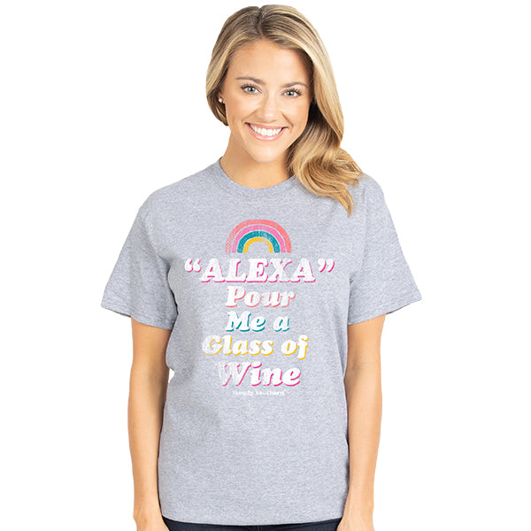 SALE Simply Southern Vintage Collection Preppy Alexa Pour Me a Glass of Wine T-Shirt