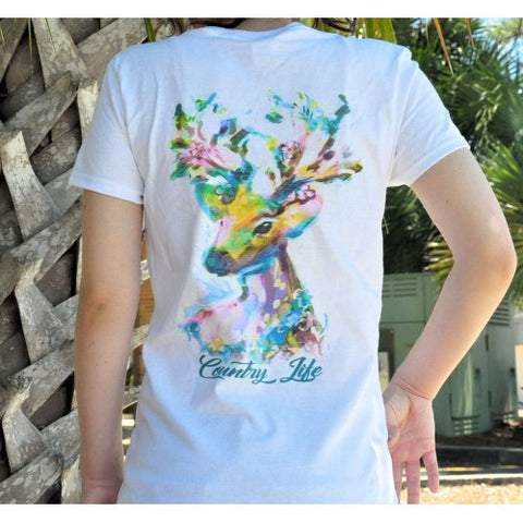 Country Life Outfitters Watercolor Deer Ladies V-Neck Fitted T-Shirt - SimplyCuteTees