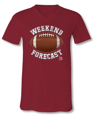 Sassy Frass Weekend Forecast Football Maroon V-Neck Canvas Girlie Bright T Shirt