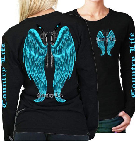 Country Life Outfitters Wings Guns Vintage Black & Blue Long Sleeve Bright T Shirt - SimplyCuteTees