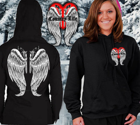 Country Life Outfitters Wings Guns Vintage Black Unisex Hoodie - SimplyCuteTees