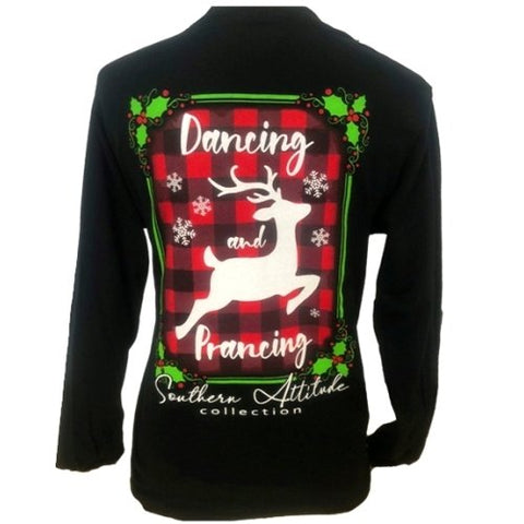 Southern Attitude Preppy Dancing Prancing Holiday Long Sleeve T-Shirt