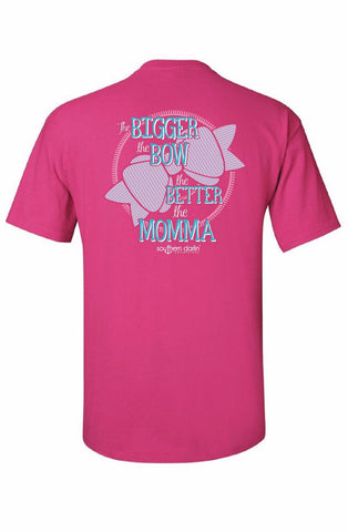 Southern Darlin Youth Kids Bigger the Bow Better the Momma Mom Bright Girlie T-Shirt - SimplyCuteTees