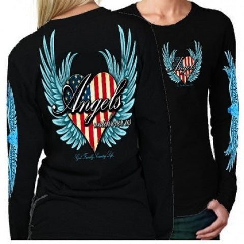 Country Life Outfitters Angel Black USA Heart American Flag Wings Long Sleeve Girlie Bright T Shirt - SimplyCuteTees