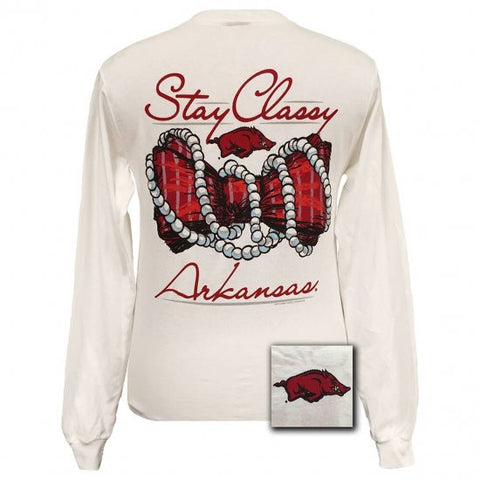New Arkansas Razorbacks Stay Classy Pearls Bow Bright Long Sleeves T Shirt
