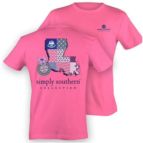 Simply Southern Preppy Louisiana Pink State Pattern T-Shirt