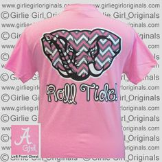 Alabama Crimson Roll Tide Pink Chevron Elephant Bright T Shirt