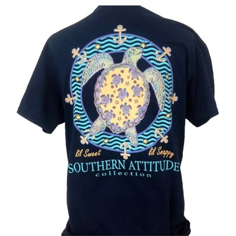 Southern Attitude Preppy Lil Snappy Turtle Navy T-Shirt