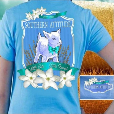 Country Life Outfitters Southern Attitude Lamb Sheep Little Cute Little Bad Girlie Bright T Shirt - SimplyCuteTees