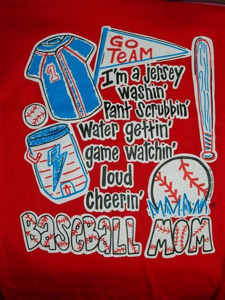 Southern Chics Funny Baseball Mom 4 Red Sweet Girlie Bright T Shirt Simplycutetees