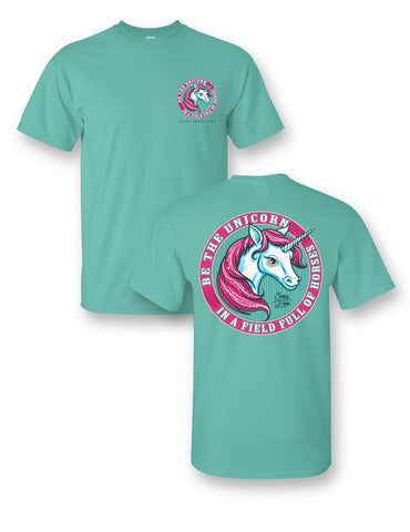Sassy Frass Be a Unicorn in a Field of Horses Comfort Colors Girlie Bright T Shirt