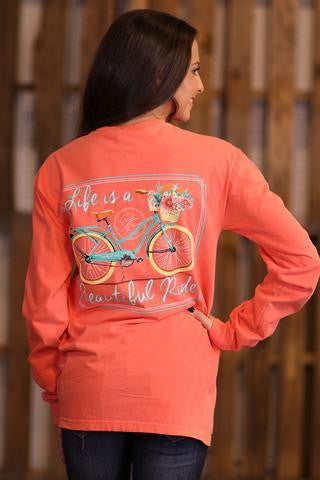 Sassy Frass Comfort Colors Life is a Beautiful Ride Bicycle Bike Long Sleeve Bright Girlie T Shirt