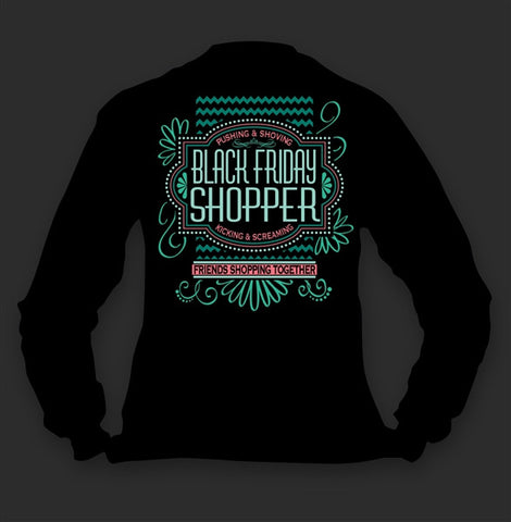 Sweet Thing Funny Black Friday Shopper Shop Chevron Long Sleeve Girlie Bright T-Shirt - SimplyCuteTees