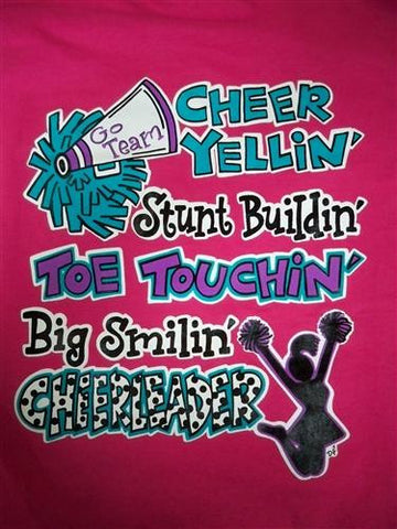 Southern Chics Funny Big Smilin Cheerleader Sweet Girlie Bright T Shirt