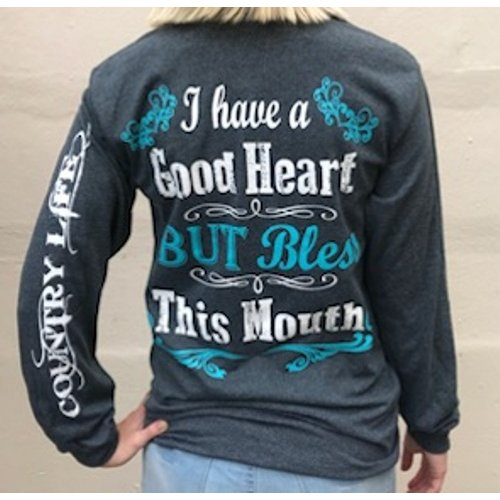 Country Life Southern Attitude Mint Bless This Mouth Long Sleeve T-Shirt