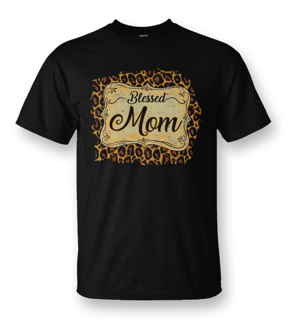 Sassy Frass Blessed Mom Leopard Front Print Bright Girlie T Shirt