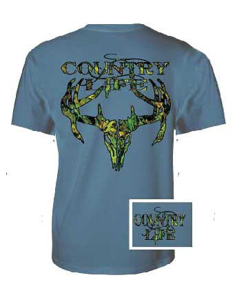 Country Life Outfitters Blue Camo Realtree Deer Skull Head Hunt Vintage Unisex Bright T Shirt - SimplyCuteTees