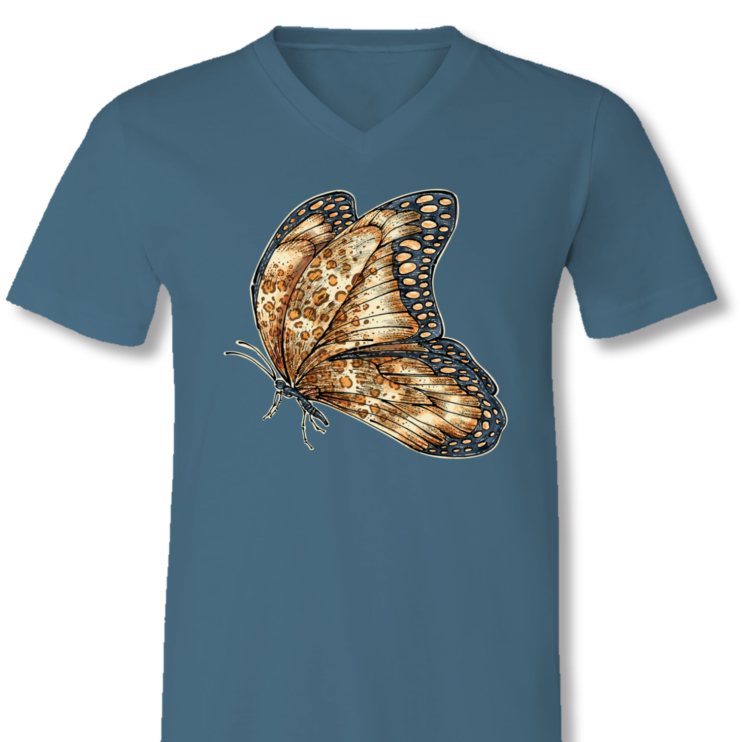 Sassy Frass Leopard Butterfly V-Neck Canvas T-Shirt