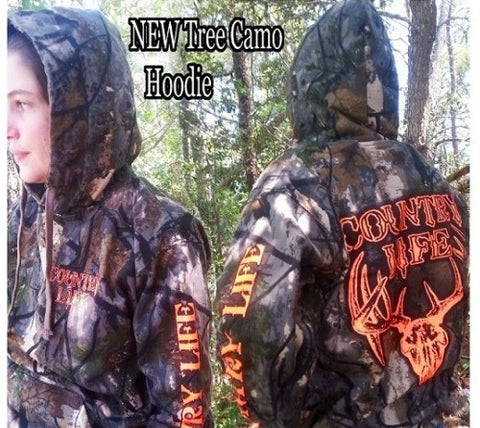 Country Life Outfitters Tree Camouflage Camo Realtree Deer Skull Head Hunt Vintage Unisex Hoodie - SimplyCuteTees
