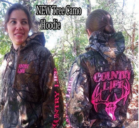 Country Life Outfitters Pink Tree Camouflage Camo Realtree Deer Skull Head Hunt Vintage Hoodie - SimplyCuteTees