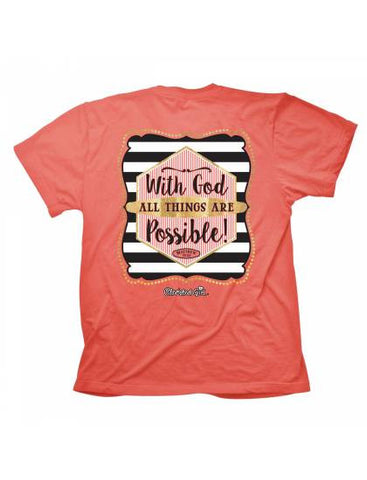 Cherished Girl With God All Things are Possible Girlie Christian Bright T Shirt - SimplyCuteTees