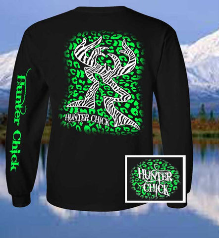 Country Life Outfitters Hunter Chick Black & Green Cheetah Deer Head Hunt Vintage Long Sleeve Bright T Shirt - SimplyCuteTees