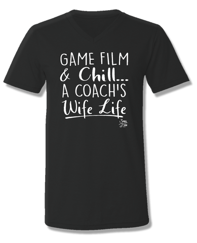 Sassy Frass Game Film & Chill Coach's Wife Life V-Neck Canvas Girlie Bright T Shirt
