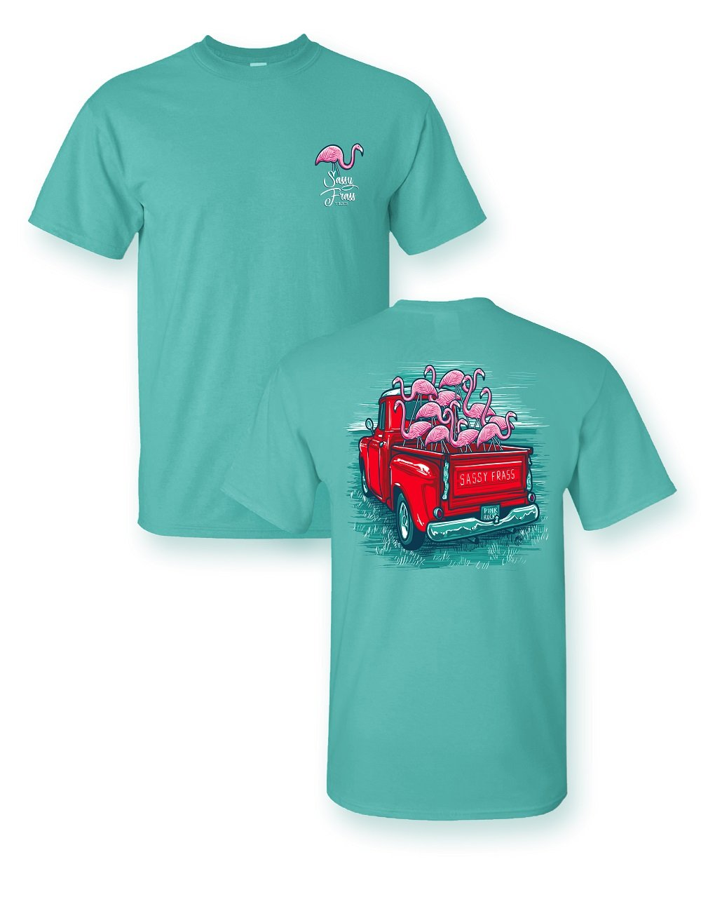 Sale Sassy Frass Flamingo Truck Comfort Color Bright Girlie T Shirt