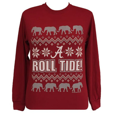 Alabama Crimson Tide Christmas Holiday Girlie Long Sleeve T Shirt - SimplyCuteTees