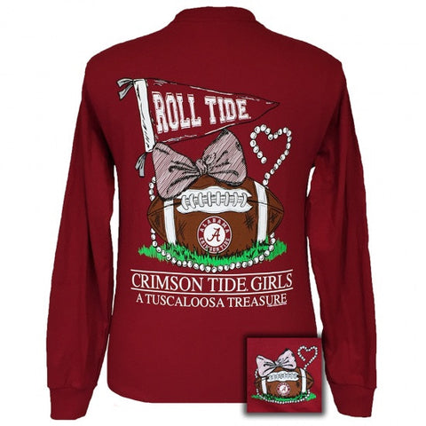 Alabama Crimson Tide Tuscaloosa Treasure Pearls Bow Long Sleeve T-Shirt