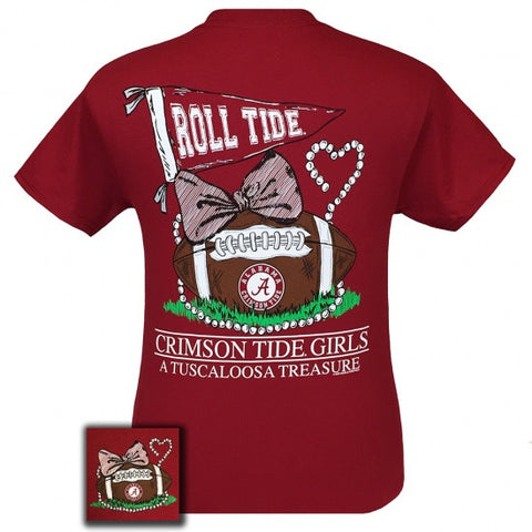 Alabama Crimson Tide Tuscaloosa Treasure Pearls Bow T-Shirt - SimplyCuteTees
