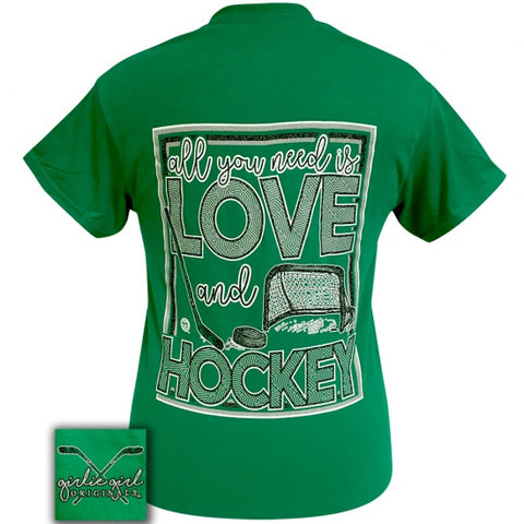 Girlie Girl Originals Preppy All You Need Is Love And Hockey T-Shirt