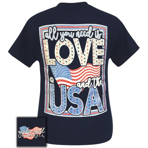 Girlie Girl Originals Preppy Love And The USA America T-Shirt - SimplyCuteTees
