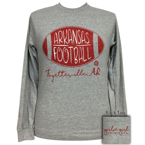 Girlie Girl Preppy Arkansas Football Long Sleeve T-Shirt