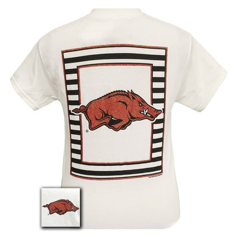 Arkansas Razorbacks Preppy Glitter Logo Hogs Girlie Bright T Shirt