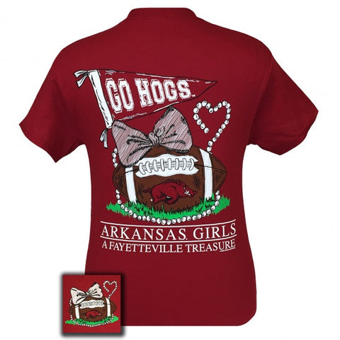 Arkansas Razorbacks Hogs Fayetteville Treasure Pearls Bow T-Shirt - SimplyCuteTees