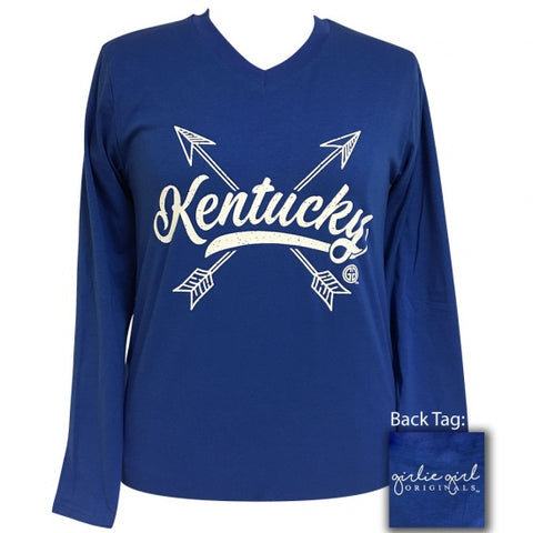 Girlie Girl Preppy Kentucky Arrows V-Neck Long Sleeve T-Shirt - SimplyCuteTees