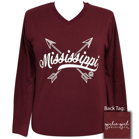 Girlie Girl Preppy Mississippi State Arrows V-Neck Long Sleeve T-Shirt - SimplyCuteTees