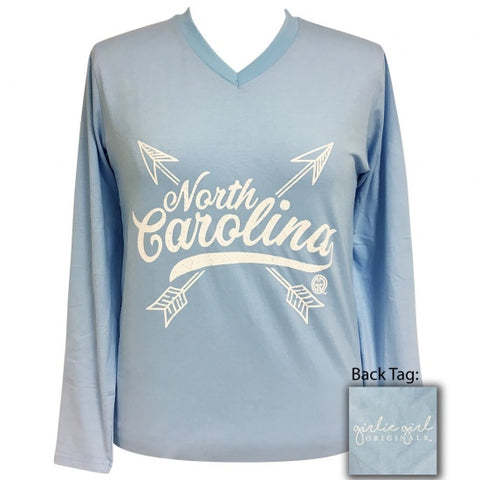 Girlie Girl Preppy North Carolina Arrows V-Neck Long Sleeve T-Shirt - SimplyCuteTees