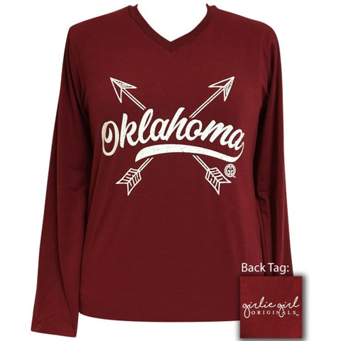Girlie Girl Preppy Oklahoma Arrows V-Neck Long Sleeve T-Shirt - SimplyCuteTees