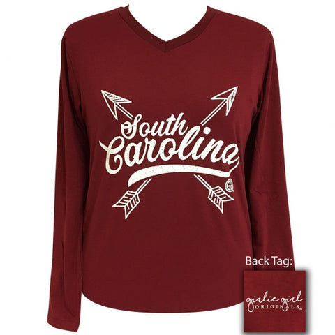 Girlie Girl Preppy South Carolina Arrows V-Neck Long Sleeve T-Shirt