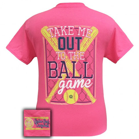Girlie Girl Originals Preppy Softball Take Me Out To The Ballgame T-Shirt