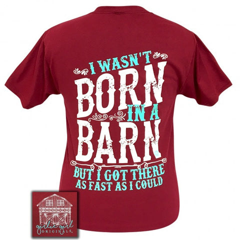 Girlie Girl Preppy I wasn't born in a barn T-Shirt - SimplyCuteTees