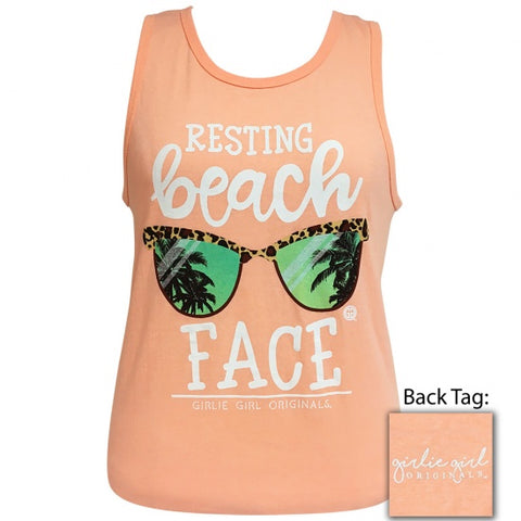 Girlie Girl Preppy Resting Beach Face Tank Top - SimplyCuteTees