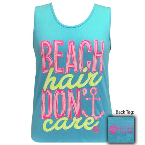 Girlie Girl Beach Hair Dont Care Anchor Comfort Colors Tank Top
