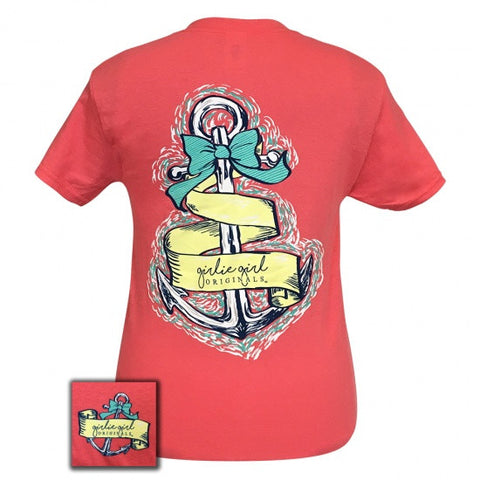 Girlie Girl Originals Preppy Vintage Anchor Bow T-Shirt