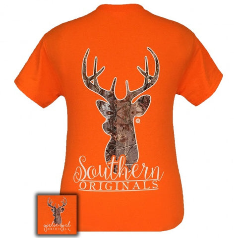 Girlie Girl Originals Saftey Orange Camo Deer T-Shirt