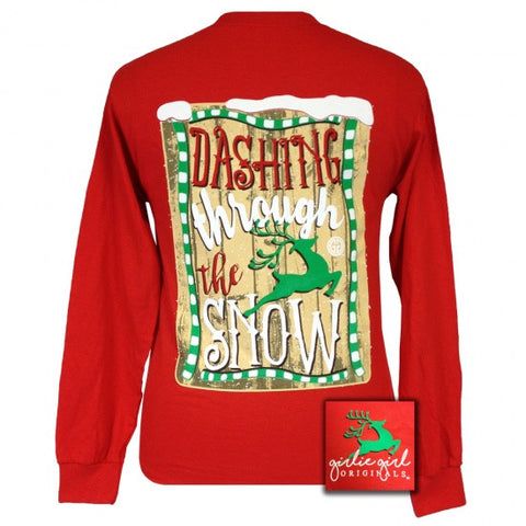 Girlie Girl Originals Dashing through the Snow Reindeer Holiday Long Sleeves T Shirt - SimplyCuteTees