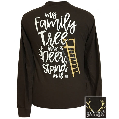 Girlie Girl Family Tree Deer Stand Long Sleeve T-Shirt