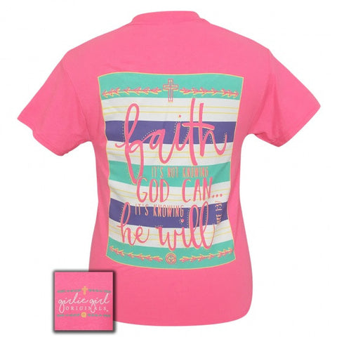Girlie Girl Originals Faith He Will Faith Pink T-Shirt - SimplyCuteTees
